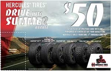 Hercules® Tires Offers $50 Drive Into Summer Rebate
